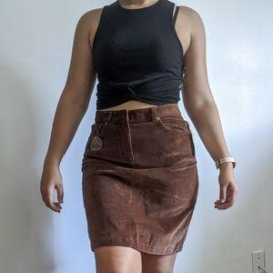 Brown high waisted corduroy skirt